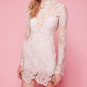 Saylor for Free People Nude Lace Embroidered Dress